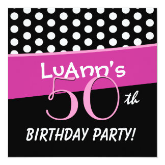 50. Geburtstags-rosa weiße rote Tupfen D422 Quadratische 13,3 Cm Einladungskarte