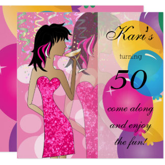 50. Geburtstags-Schlag-Mädchen-Party | bunt Karte