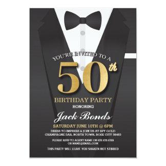 50. Geburtstags-Spions-Anzugs-Schwarz-Krawatte Karte