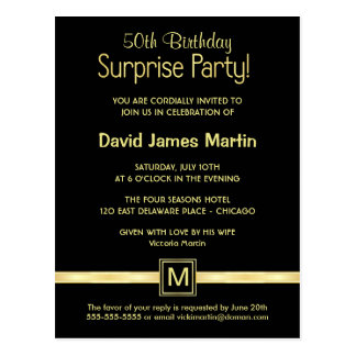50. Geburtstags-Überraschungs-Party - Postkarte
