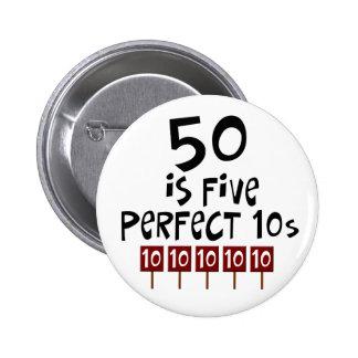 50. Geburtstagsgeschenke, 50 ist 5 perfekte 10s! Buttons