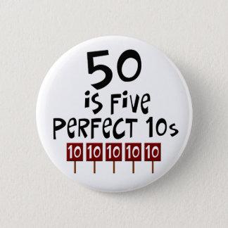 50. Geburtstagsgeschenke, 50 ist 5 perfekte 10s! Runder Button 5,1 Cm