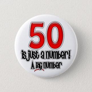 50 gerade ist ein Zahl-Knopf Runder Button 5,7 Cm