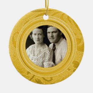 50. Gold des Hochzeits-Jahrestags-Foto-  Rundes Keramik Ornament