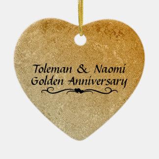 50. Goldene Hochzeits-Jahrestag   personalisiert Keramik Herz-Ornament