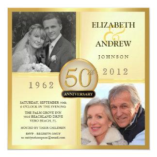 50. Goldene Hochzeits-Jahrestags-Foto-Einladungen Quadratische 13,3 Cm Einladungskarte