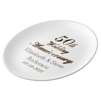 50. Goldene Hochzeitstag-Typografie elegant Teller