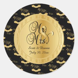 50. Goldener Hochzeitstag im Gold und im Schwarzen Runder Aufkleber