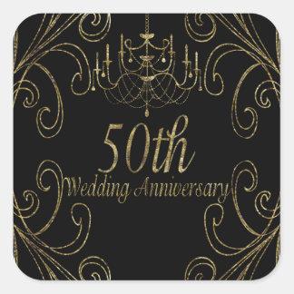50. Goldener Hochzeitstag-Leuchter Quadratischer Aufkleber
