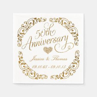 50. Goldener Hochzeitstag-Papierservietten Papierserviette