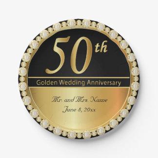 50. Goldener Hochzeitstag Pappteller