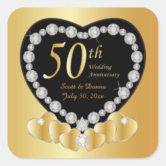 50. Goldener Hochzeitstag Quadratischer Aufkleber