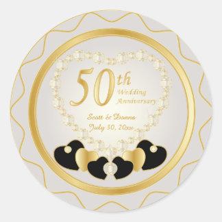 50. Goldener Hochzeitstag Runder Aufkleber