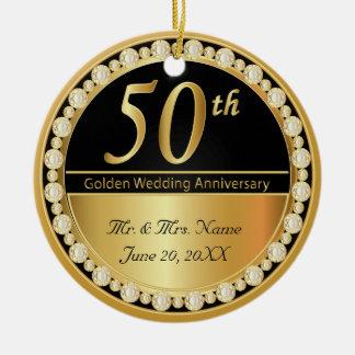 50. Goldener Hochzeitstag Rundes Keramik Ornament