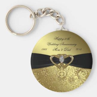 50. Goldener Hochzeitstag-Schlüsselkette Standard Runder Schlüsselanhänger
