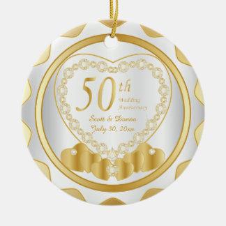50. Goldener Name u. Datum des Hochzeitstag-| DIY Rundes Keramik Ornament