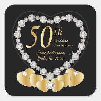 50. Goldener Text des Hochzeitstag-| DIY Quadratischer Aufkleber