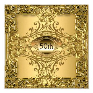 50. Goldgeburtstags-Party-Luxus Quadratische 13,3 Cm Einladungskarte