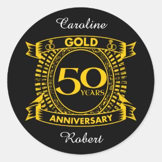 50. GoldHochzeitstag Runder Aufkleber
