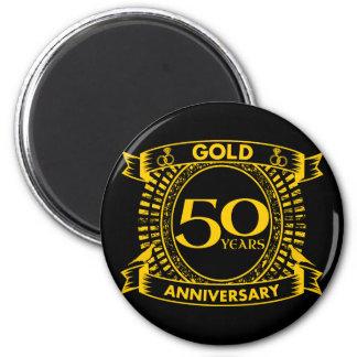 50. GoldHochzeitstag Runder Magnet 5,7 Cm