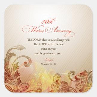 50. Hochzeits-Jahrestag, Lord Bless u. behalten Quadratischer Aufkleber