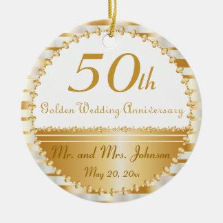 50. Hochzeits-Jahrestag personalisiert Rundes Keramik Ornament