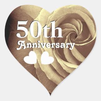 50. Hochzeits-Jahrestags-elegante GoldRose A07 Herz-Aufkleber
