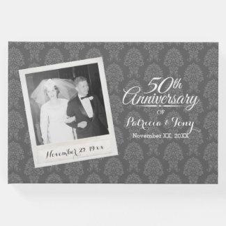 50. Hochzeits-Jahrestags-Foto-Damast-Muster Gästebuch