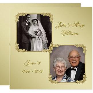 50. Hochzeits-Jahrestags-Foto-Einladungs-Karte Quadratische 13,3 Cm Einladungskarte
