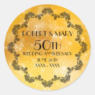 50. Hochzeits-Jahrestags-Gold personalisiert Runder Aufkleber