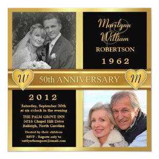 50. Hochzeits-Jahrestags-Herz-Foto-Einladungen Quadratische 13,3 Cm Einladungskarte