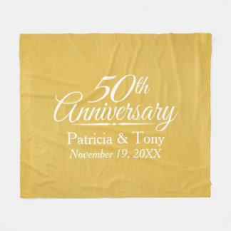 50. Hochzeits-Jahrestags-personalisiertes Goldenes Fleecedecke