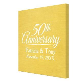 50. Hochzeits-Jahrestags-personalisiertes Goldenes Leinwand Druck