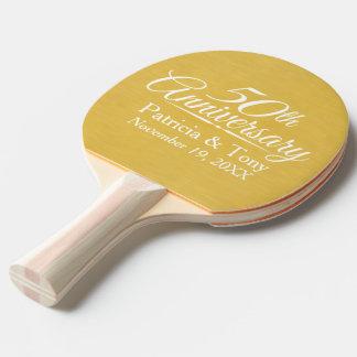 50. Hochzeits-Jahrestags-personalisiertes Goldenes Tischtennis Schläger