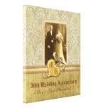 50. Hochzeitstag-antikes Damast-Gold Gespannter Galerie Druck