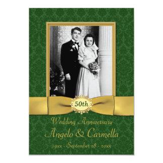 50. Hochzeitstag-Einladung im Grün 12,7 X 17,8 Cm Einladungskarte