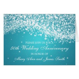 50. Hochzeitstag-funkelndes Wellen-Blau Karten