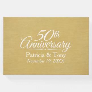50. Hochzeitstag - gebürsteter Goldhintergrund Gästebuch