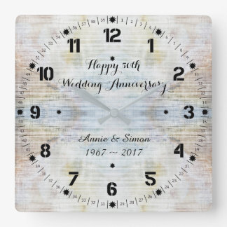 50. Hochzeitstag-Marmormuster Quadratische Wanduhr