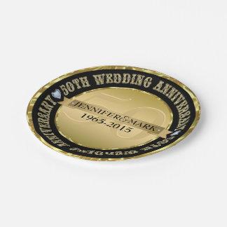 50. Hochzeitstag-metallisches Gold und Schwarzes Pappteller