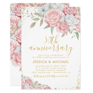 50. Hochzeitstag-rosa Gold mit Blumen Karte