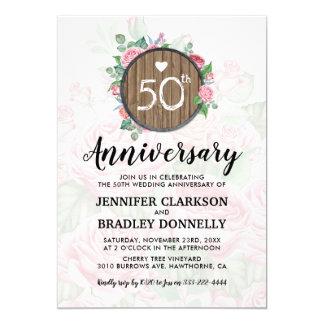50. Hochzeitstag-rustikales Land mit Blumen Karte