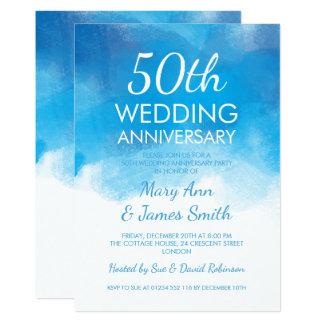 50. Hochzeitstag-Sommer-Blau-Aquarell 12,7 X 17,8 Cm Einladungskarte