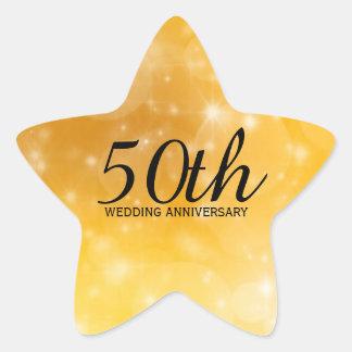 50. Hochzeitstag-sternförmiger Goldaufkleber Stern-Aufkleber