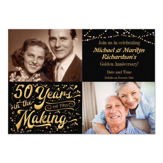 50 Jahre in dann u. jetzt machen Jahrestag 12,7 X 17,8 Cm Einladungskarte