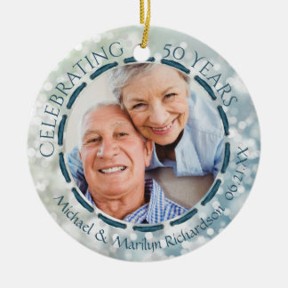 50. Jahrestag, 2-Sided 2-Foto aquamarin/Blau/Weiß Rundes Keramik Ornament