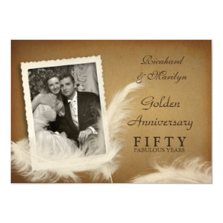 50. Jahrestags-extravagante Feder-Foto-Einladungen 12,7 X 17,8 Cm Einladungskarte