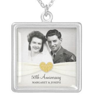 50. Jahrestags-Feier-Hochzeits-Foto-Anhänger Halskette Mit Quadratischem Anhänger