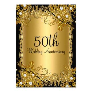 50. Jahrestags-Goldschwarzer Diamant-Blumenstrudel 11,4 X 15,9 Cm Einladungskarte