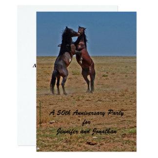 50. Jahrestags-Party Einladungs-Tanzen-Pferde Karte